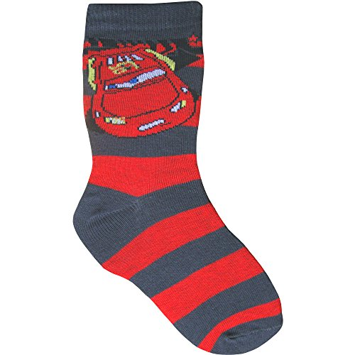 Image of Boys Baby, Toddler & Childrens Disney Pixar Cars Novelty Socks (3 Sizes) (UK Junior 9-12 (EUR 27-30), Disney Cars Red & Grey)