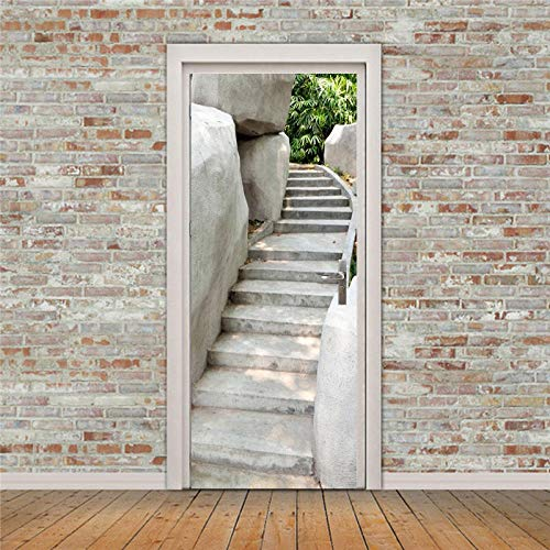 XCGZ Türaufkleber Bücherregal Buch 3D Tür Aufkleber Tür Landschaftsbau Renovierung PVC-Aufkleber -