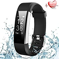 Fitness Tracker HR, Activity Tracker Watch Heart Rate Monitor, Waterproof Smart Fitness Band Step Counter, Calorie Counter, Pedometer Watch Kids Women Men(Black)
