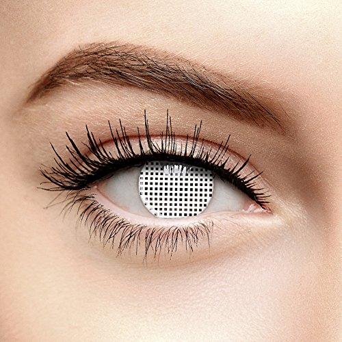 Halloween Farbige Kontaktlinsen Ohne Stärke Gitter Weiß (90 Tage)