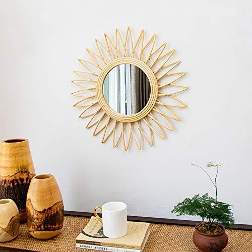zenggp Wicker Sunburst Spiegel Vintage Style Rattan Cane Wandbehang Dekor Runde Geometrische Beige,Sunflower (Vintage Sunburst Spiegel)