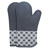 The Professional Heat Resistance of Silicon Oven Gloves,Heat Resistant Silicone Oven Mitts With Quilted Cotton Lining, 1 Pair Non - Slip Extra long Oven Gloves for BBQ, Cooking, Baking, Grilling, Barbecue, Mimicrowave, Machine Washable (Grey)