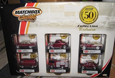 Matchbox 50th Anniversary Collection Exclusive Set: 1955 Cadilac Fleetwood, 1933 Ford Coupe, 1955 Chevrolet Bel Air, 1967 Volkswagen, 1998 Dennis Sabre, 1962 Volkswagen