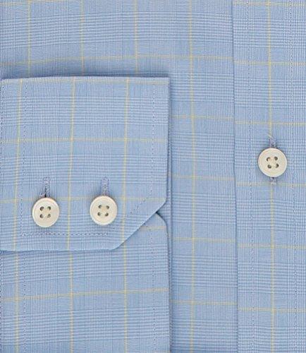 Hawes & Curtis Herren Business Hemd Slim Fit Knopfmanschetten Karo Baumwolle Blau/Gelb
