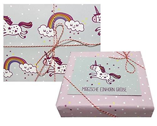 4x doppelseitiges Einhorn-Geschenkpapier + 1x Postkarte für Kinder | Made in Germany | (Einzelbögen 42x59cm, DIN A2/ Regenbogen, Sterne, Punkte)