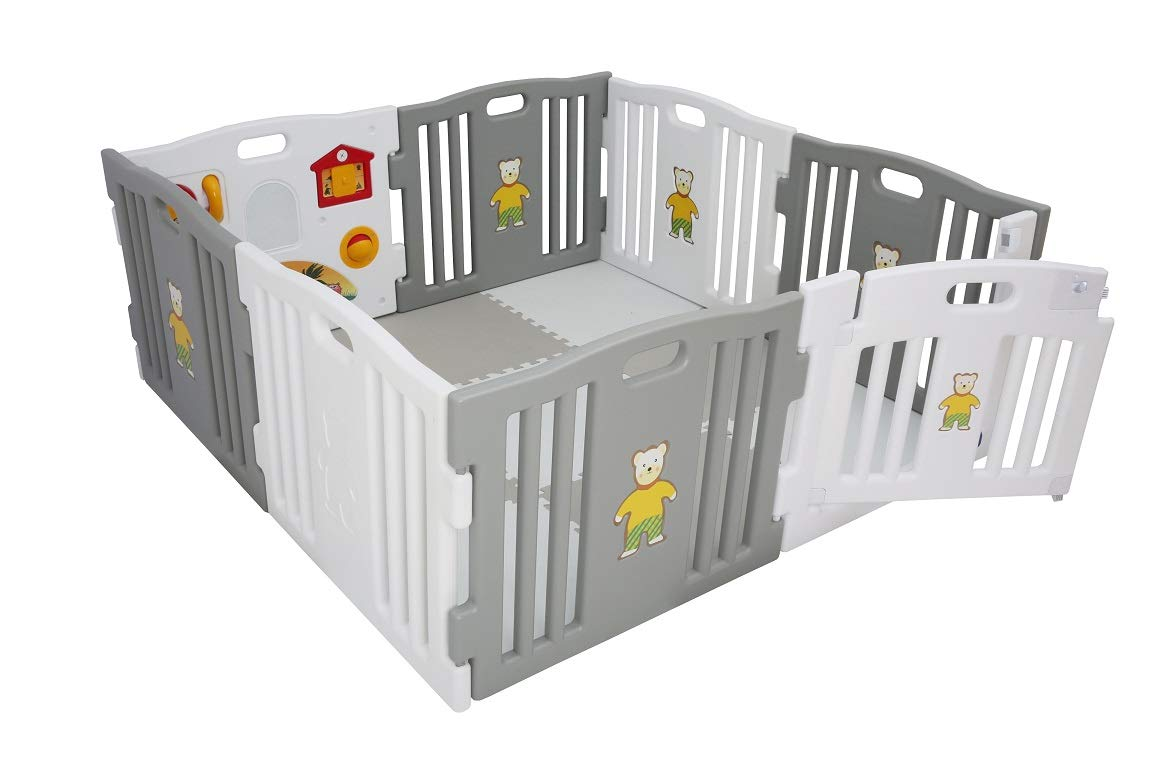 Millhouse Plastic Baby Playpen with Activity Panel with Play Mats Included (Grey & White with Mats) Millhouse Millhouse Plastic Baby Playpen 8 Sides with Activity Panel WITH Grey and White PLAYMATS / 9 Play Mats Included (Individual Size: 49 x 49 x 1 cm / Total Play Mats Size: 148 x 148 x 1 cm) / Suitable age range: 6 - 24 months Playpen with 8 Panels (Including 1 White Door Panel, 1 White Play Panel, 6 Normal Panels - 4 Grey + 2 White) Single Panel Size: 79 x 63 cm / Total Playpen Size: 157 x 157 x 63 cm / Packaging Size: 80 x 41 x 64 cm / PLEASE NOTE: Please note the suction caps will only stick on tile / wooden / laminate flooring and any dust on the floor or suction caps will prevent the suction from working. These are not suitable for sticking on carpet. 5