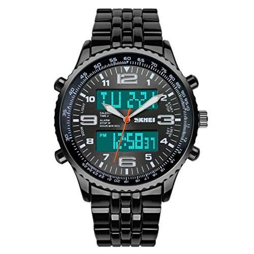 Warmiehomy Herren Analoge-Digitale Armbanduhr wasserdichte Quarz Uhr für Männer Cool Sport große Anzeige LED Sportuhr mit Wecker und Schwarzem Edelstahl Armband