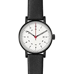 VOID V03D-BL/BL/WH Black Leather Strap Band White Dial Watch