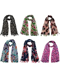 FusFus Women's Chiffon Printed Stoles (F0182, Multicolour, Free Size) - Set of 6