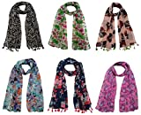 #9: FusFus Women's Chiffon Printed Stoles (F0182, Multicolour, Free Size) - Set of 6