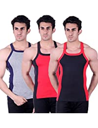 Zimfit Gym Vest - Pack of 3 (Black_Red_Grey)