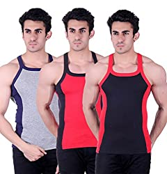 Zimfit Gym Vest - Pack of 3 (Black_Red_Grey_36)