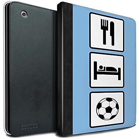 STUFF4 PU Pelle Custodia/Cover/Caso Libro per Apple iPad 2/3/4 tablet / Calcio/Blu / Mangiare/Sonno disegno