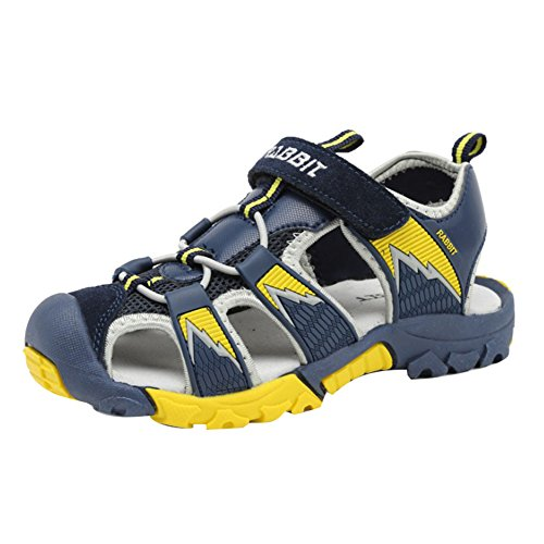 Juleya Sommer Strand Geschlossene Sandalen Klettverschluss Outdoor Wanderschuhe Ultraleicht Breathable Schuhe Flach Unisex Kinder Jungen Mädchen Tiefes Blau
