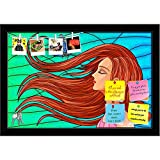 ArtzFolio Blue Butterfly & Girl With Long Hair Printed Bulletin Board Notice Pin Board cum Black Framed Painting 17.5 x 12inch