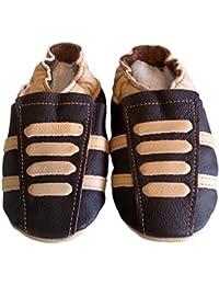 """""""Basket Chocolat"""" de BBKDOM- Chaussons bébé et enfant en cuir souple de qualité supérieure Fabrication Européenne de 0-5 ans"""