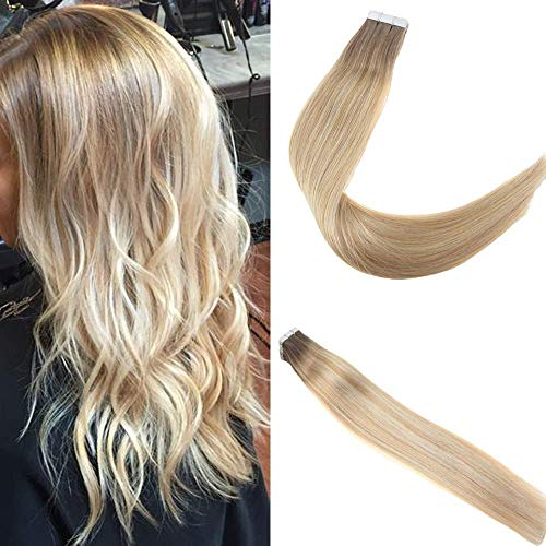 Easyouth Remy Tape in Extensions 18 zoll 50g 20Stück pro Paket Farbe #6T27P6T60 4 Fading zu 27 Highlight mit 60 Haar Verlängerung Kleber - Remy Tape Haut
