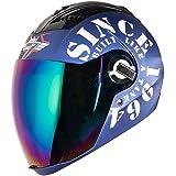 Steelbird SBA-2 TANK Full Face Helmet in Matt Finish with Blue Visor (Large 600 MM, Yamaha Blue/White)