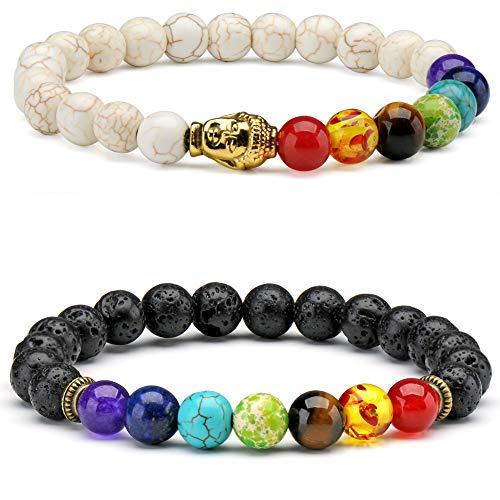 7 Chakra Stein Perlen Armband Türkis Achat Yoga Meditation Chakra Balancing Reiki Heilung elastisches Armband für Männer Frauen (Mall Perlen Armband Frauen)