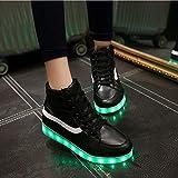 Damen hohe obere LED-helle Schuhe beiläufige flache Schuhe der Art und Weise sieben Farben ändern und elf Arten des blinkenden Modus , Black , 39