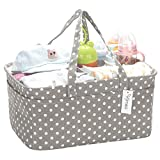 Hinwo Baby Diaper Caddy 3-Compartment Infant Nursery Tote Cestino di immagazzinaggio portatile per auto Organizer Neonato Doccia Cesto regalo con divisorio rimovibile e 10 Tasche invisibili pannolini