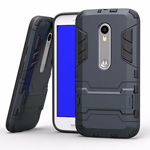 TARKAN Heavy Duty Shockproof Armor Kickstand Protective Back Case Cover for Moto G4 Plus (Gen 4) / 4th Generation [Black]