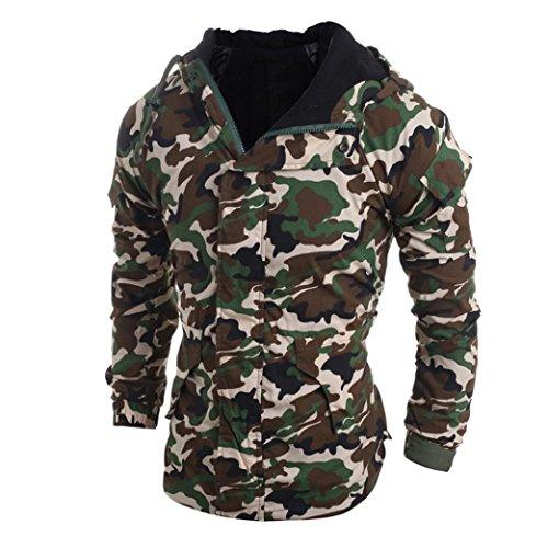 Hombres Chaqueta GillBerry Camuflaje Otoño invierno Viento con capucha blusa de abrigo (XL, Camuflaje)