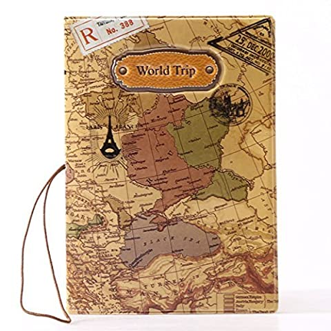 Passport Cover Case Passenger Travel Certificates Documents Case ID Card Holder Photo Slot Cover World Map Style, Brown