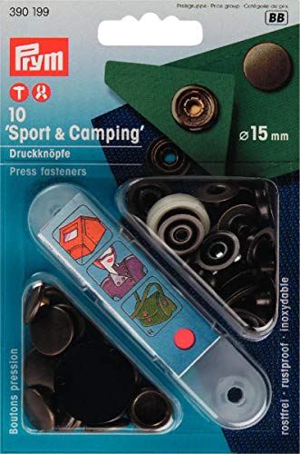 Prym 390199 Nähfrei-Druckknopf Sport & Camping Messing 15 mm altmessing, Metal