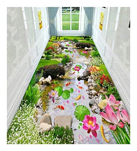 CnCnCn Alfombra Pasillo Patrón De Estanque De Loto 3D Antideslizante Galería Color : A, Size : 100x550cm...