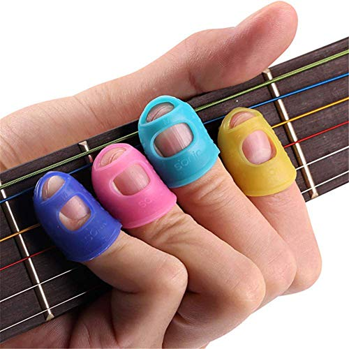 Lusenbo - Protezioni per dita della chitarra, in silicone, per suonare chitarra, basso, ukulele, chitarra elettrica (piccoli colori casuali) M As the picture