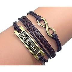 Idea Regalo - OriginalTribe Suor braccialetto infinity braccialetto in bronzo antico cordone di cera marrone scuro scuro marrone dono di amicizia cuoio intrecciato braccialetto personalizzato 2569R