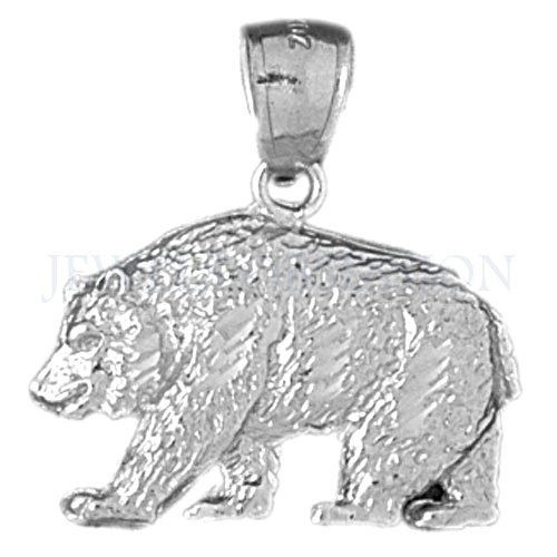 JewelsObsession 's 14 K Weiß Gold 25 mm Grizzly Bär Charm Anhänger