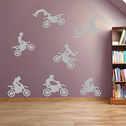 Wandaufkleber, Motiv: Motorräder/Motocross, Fenster-Aufkleber Aufkleber Wand-Aufkleber Aufkleber Wandbild Abnehmbare Wandaufkleber Aufkleber, Vinyl, 02 - Silver, Large Set