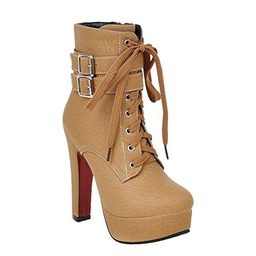Minetom Damen Mode Gefüttert Plateau High Heels Runde Ankle Boots mit Schnalle Schnürstiefeletten Martin Stiefel Gelb EU 43