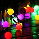 Guirlande Lumineuse Exterieur, Lumiere Solaire Exterieur 50 Boule LED, 7m Fil Souple Imperméable IP65, 8 Modes Eclairage Décoration pour Maison, Jardin, Festival (Boule blanche laiteuse, Multicolore)