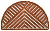 Faba Home Kokos Drahtgitter Fußmatte, sehr robust, wetterfest, Drahtgittermatte für groben Schmutz, Drahtmatte halbrund, 75 x 45 cm