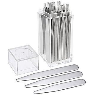 PiercingJ - Kragenstäbchen 36Stück Metall in einer transparenten Kunststoff-Box, 3Größen (5,6–7 cm)