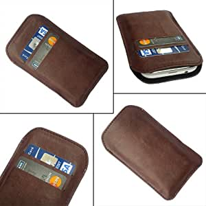 i-KitPit Quality PU Leather Pouch Case Cover For Karbonn S7 Titanium (BROWN)
