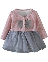 ღ UOMOGO Royal Vestiti della neonata del bambino Floral Pattern Girocollo  Tulle Tutu Gonna a maniche lunghe Vestito da principessa Baby… 8accadf072f