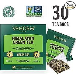 Feuilles de Thé Vert de l'Himalaya (30 Sachets de Thé), Thé Sain 100% Naturel, Thé amincissant, NATURELLEMENT RICHE EN ANTIOXIDANTS, Meilleur Thé Vert en Feuilles au Monde, Emballé à sa Source