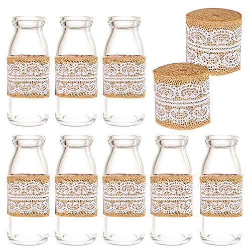 Amajoy - Bote de Cristal Vintage con Tapas de Corcho y Cinta de Encaje para decoración de Botellas de Leche, para Bodas, Fiestas, Recuerdos de Fiesta o Baby Shower (12 Unidades)