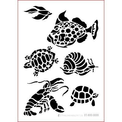 Schablone Shabby Chic Kreativbaukasten maritim, 01-800-0008, Schildkröte, Fisch, Hummer, Schnecke als Wandschablone, Textilschablone, Möbelschablone, Keilrahmengestaltung und Deko, Größe anpassbar -