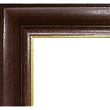 Marco Charleston 92 x 44 cm madera maciza, marci pomposo de alta calidad 44 x 92 cm, color seleccionado: oro marrón nuez con vidrio acrílico antirreflector 1 mm