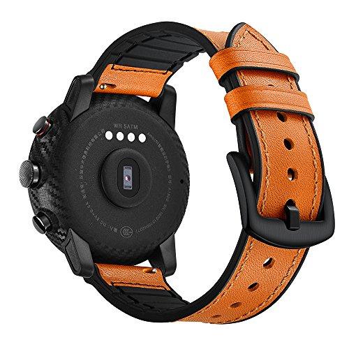 AISPORTS - Cinturino di ricambio per Amazfit Stratos 2, in pelle e gomma siliconica, 22 mm, unisex, per Amazfit Stratos 2/2S, Ticwatch Pro, Samsung Galaxy Watch 46 mm, Marrone