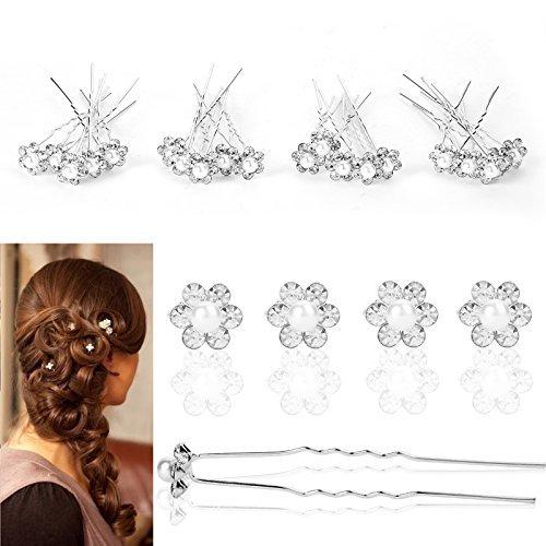 CellDeal-Épingles à Cheveux Perlitiques de Fleurs pour Mariée 20pcs