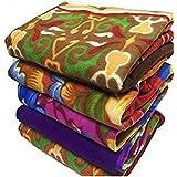 Homescape Multipurpose Polar Fleece Single Printed Bed Blanket/Bedsheet/AC Quilt (Set of 4)-Assorted Multicolor(Light Weight)