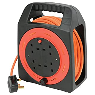 Ex-Pro® 15m Meter 4 Way Gang Mains Extension Lead Reel BS Approved HEAVY DUTY Thermal Cut Out 13A Carry, ideal for Garden, Workshop, DIY Etc..