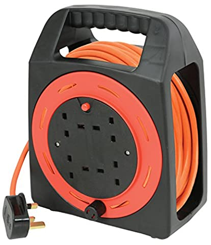 Ex-Pro® 15m Meter 4 Way Gang Mains Extension Lead Reel BS Approved HEAVY DUTY Thermal Cut Out 13A Carry, ideal for Garden, Workshop, DIY