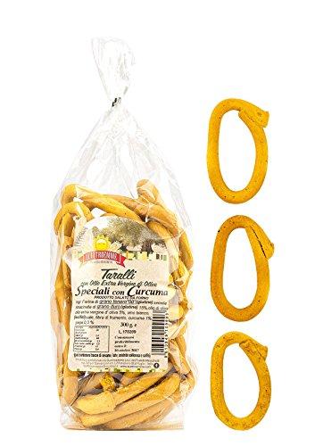 Taralli alla curcuma pugliesi con olio extra vergine d'oliva 3 pacchi da 300 g.